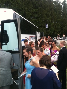 Boarding the buses in the tune of organized chaos.