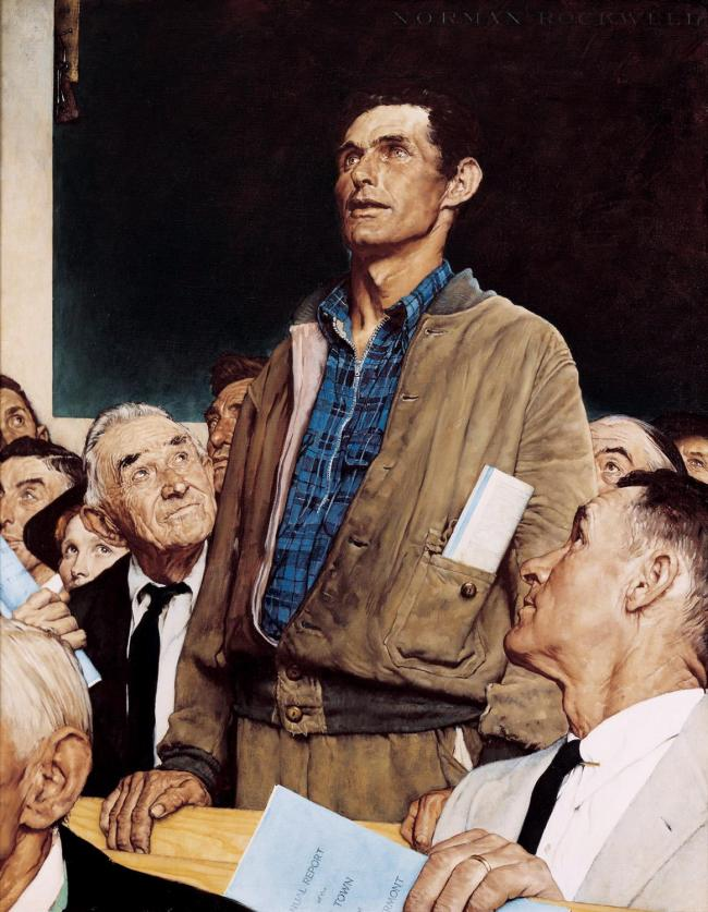 Freedom of Speech (from Four Freedoms, inspired by an FDR speech), by Norman Rockwell.  The image always comes to mind when thinking about town hall meetings.