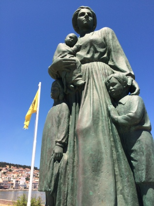 Mother of Ayvalik Statue in Mytilene, Lesvos. Every day I walk past it, I think of the Migrant Mother series of photographs and try to picture a hopeful life in a new land.