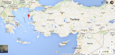 Lesvos is much closer to Turkey than it is to mainland Greece. Source: Google Maps